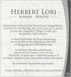 Traueranzeige Herbert Lori